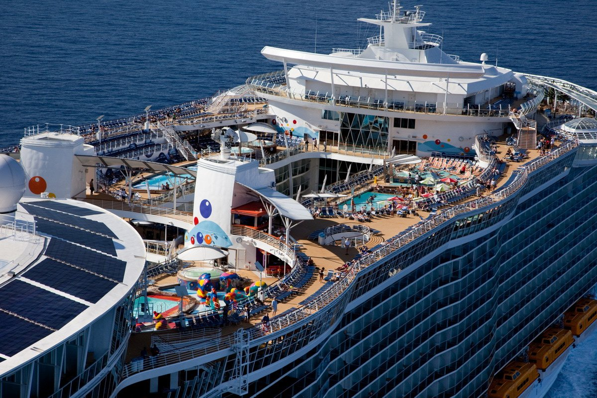 The launch of Royal Caribbean International's Oasis of the Seas, the worlds largest cruise ship. Aerial views off Miami.